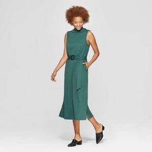Prologue green belted midi dress